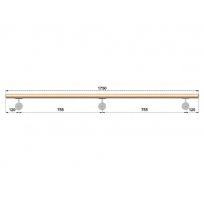 Dřevěné madlo s držáky na zeď 1,75m, EDB-M175-D