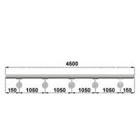 Nerezové madlo s držáky na zeď 4,5m, EB1-M450