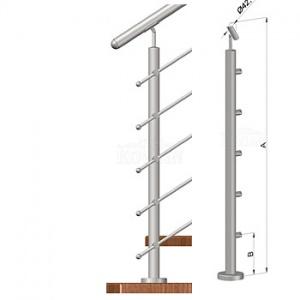 Schodišťový sloupek - horní kotvení, 5 prutů, EB1-VHS5-2