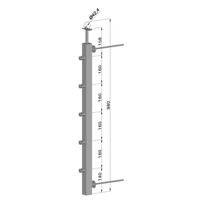 Francouzský balkón, nerezový sloupek, hranatý, pravý, EB1-JFBH5-R