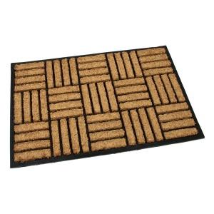 Gumová kokosová vstupní rohož Lines - Squares - 90 x 60 x 2,2 cm