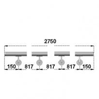 Nerezové madlo s držáky na zeď 2,75m, EB1-M275