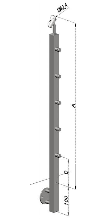 Schodišťový sloupek, hranatý - boční kotvení, 5 prutů, EB1-JBHP5-2