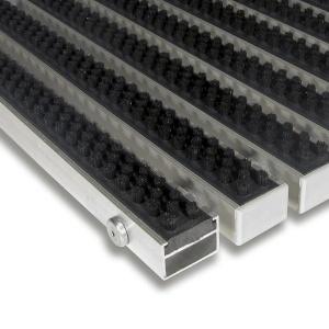 Černá hliníková čistící kartáčová venkovní vstupní rohož Alu Super - 100 x 100 x 2,2 cm
