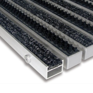 Hliníková textilní čistící vnitřní vstupní kartáčová rohož Alu Extra - 100 x 100 x 2,7 cm