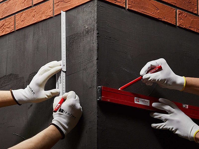 zahájení montáže imitace cihelného obkladu Izoflex