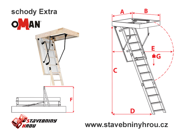 rozměry schodů Oman Extra