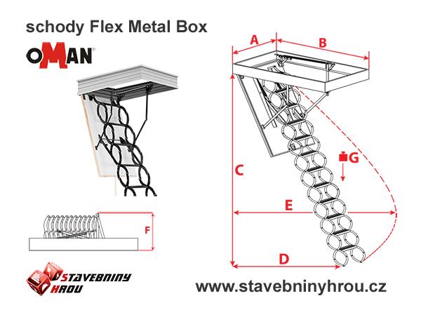 rozměry schodů Oman Flex Metal box