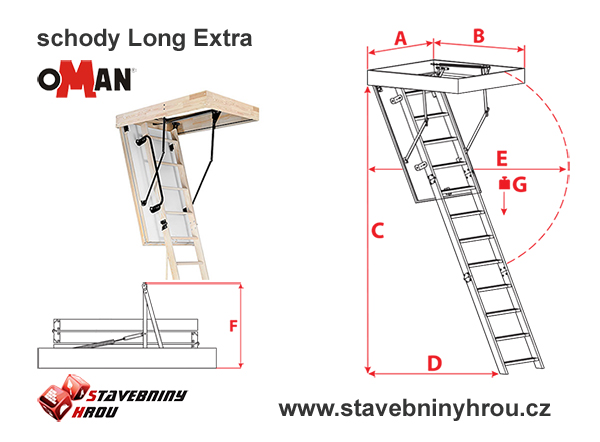 rozměry schodů Oman Long Extra