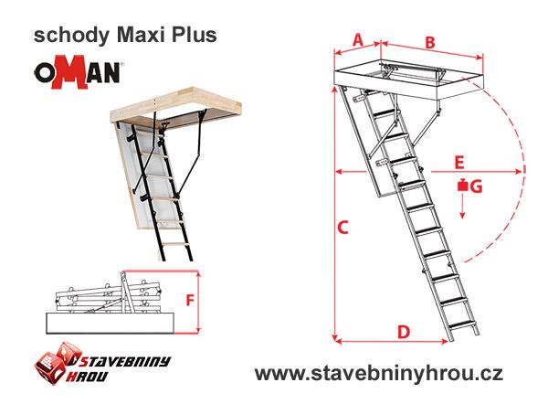 rozměry schodů Oman Maxi Plus