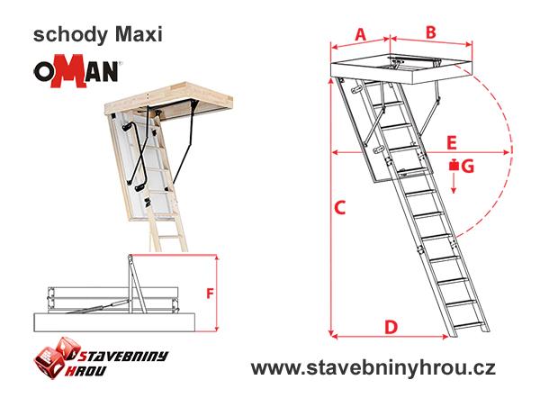 rozměry schodů Oman Maxi