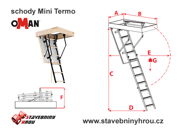 rozměry schodů Oman Mini Termo