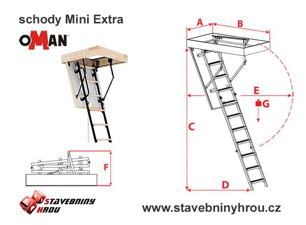 rozměry schodů Oman Mini Extra