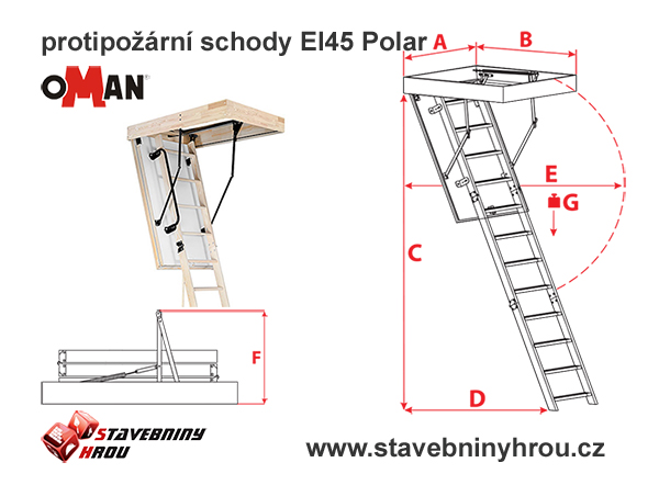 rozměry schodů Oman Mini El45