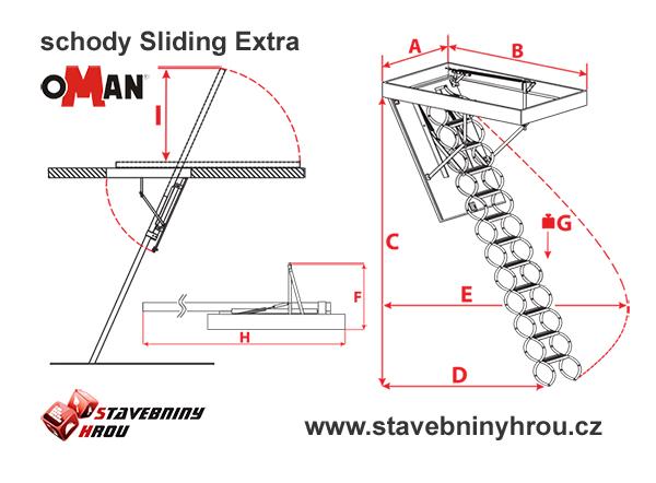 rozměry schodů Oman Sliding Extra