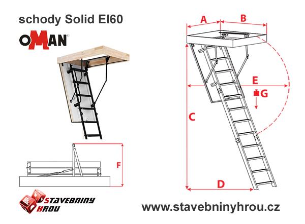 rozměry schodů Oman Solid El60