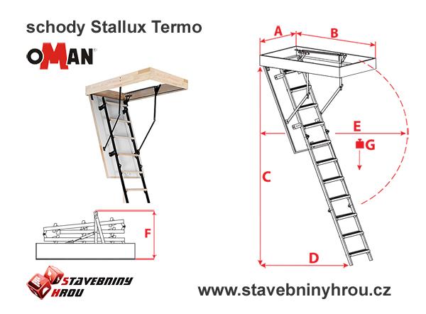 rozměry schodů Oman Stallux Termo